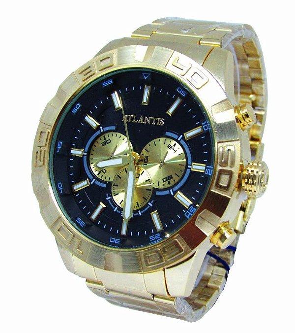 b8a762b0e32 RELOGIO ATLANTIS OVERSIZE DOURADO J3481 FUNDO PRETO - Atlantis Relógios
