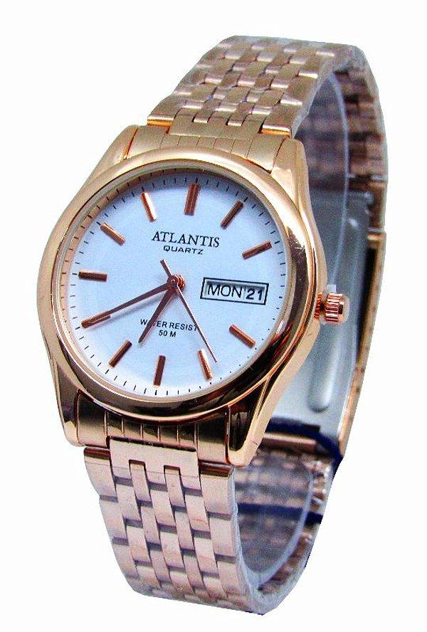 b1dc4d0e170 RELOGIO ATLANTIS FEMININO B3215 ROSE FUNDO BRANCO - Atlantis Relógios