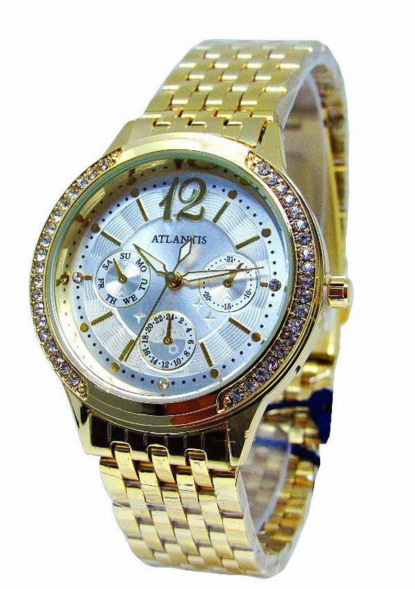 b57d4a7449e RELOGIO ATLANTIS FEMININO B3362 DOURADO FUNDO BRANCO - Atlantis Relógios