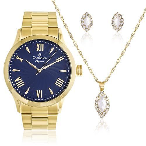 bfe66435b74 KIT Relógio Feminino Champion CN27796K COM SEMI JOIAS - Atlantis ...