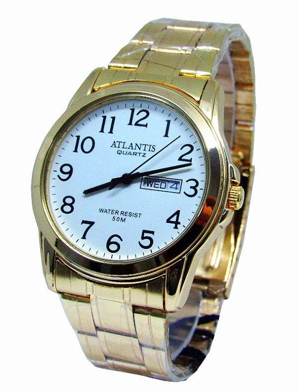 d1d9ba9430174 RELOGIO MASCULINO SOCIAL DOURADO ATLANTIS G6404 - Atlantis Relógios