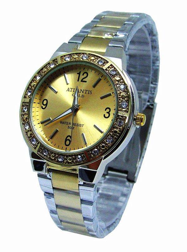 e3fd00a4408 RELOGIO FEMININO ATLANTIS MISTO FUNDO DOURADO G3444 - Atlantis Relógios