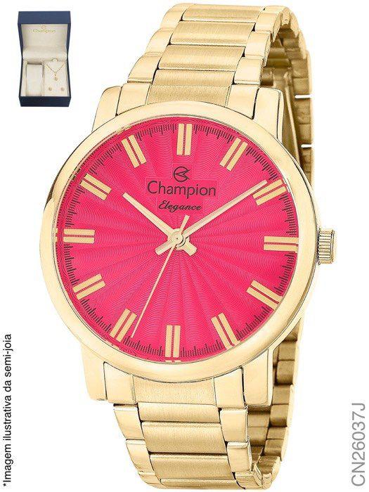 e9581e3a71b KIT Relógio Feminino Champion CN26037J Dourado com Semi Joia ...