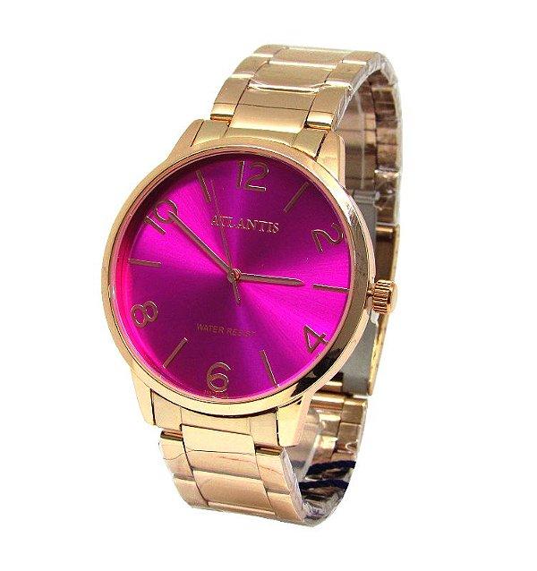 76e98a42603 RELOGIO FEMININO ATLANTIS G3507 ROSE FUNDO ROSA - Atlantis Relógios