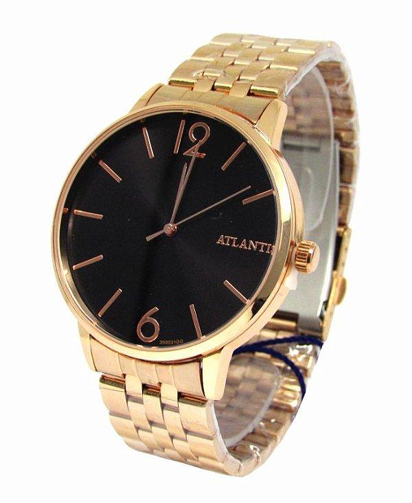 41b5d87264a RELOGIO FEMININO ATLANTIS G3500 ROSE FUNDO PRETO - Atlantis Relógios