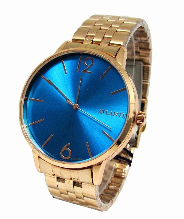 8435c1f84f0 RELOGIO FEMININO ATLANTIS G3500 ROSE FUNDO AZUL - Atlantis Relógios