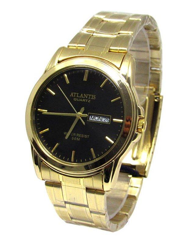 28874d4206e RELOGIO FEMININO ATLANTIS G6404 DOURADO FUNDO PRETO - Atlantis Relógios
