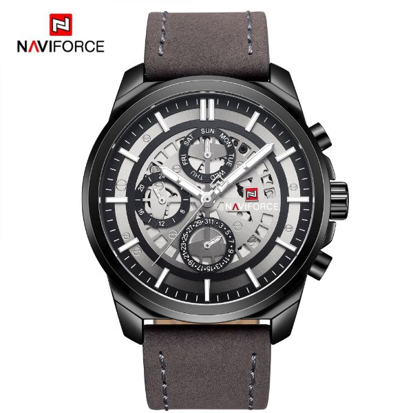feea0972623 RELOGIO MASCULINO NAVIFORCE FUNCIONAL COURO NF9129 - Atlantis Relógios