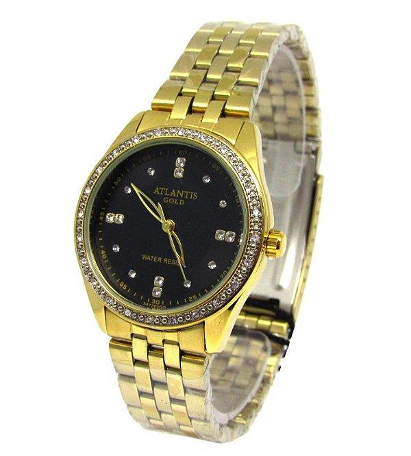 9f0b1e26290 RELOGIO FEMININO ATLANTIS DOURADO G3472 - Atlantis Relógios