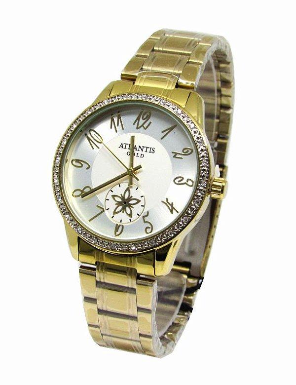 5e5dd8befd8 RELOGIO FEMININO ATLANTIS DOURADO G3471 FUNDO BRANCO - Atlantis Relógios