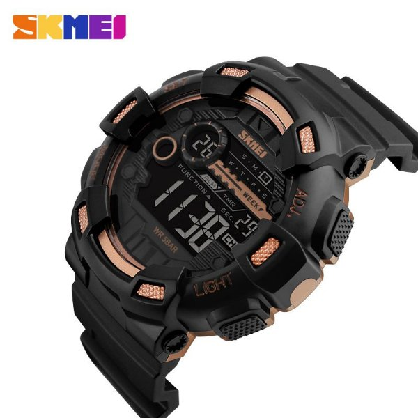 3266540e656 RELOGIO MASCULINO ESPORTIVO SKMEI 1243 DOURADO - Atlantis Relógios