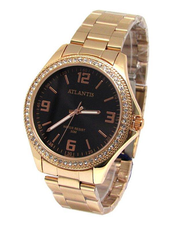 36d7cb3917f RELOGIO FEMININO ATLANTIS G3505 ROSE FUNDO PRETO - Atlantis Relógios