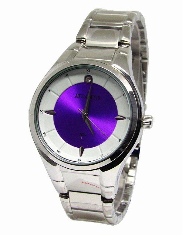 53ca895ac00 RELOGIO FEMININO ATLANTIS G3447 ROXO - Atlantis Relógios