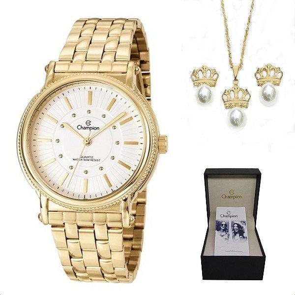 3827f55c0ce KIT RELOGIO FEMININO CHAMPION CN29614W COM SEMI JOIA - Atlantis Relógios