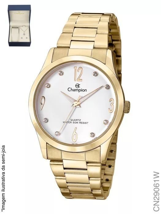 2facb3e21fe KIT RELOGIO FEMININO CHAMPION CN29061W COM SEMI JOIA - Atlantis Relógios