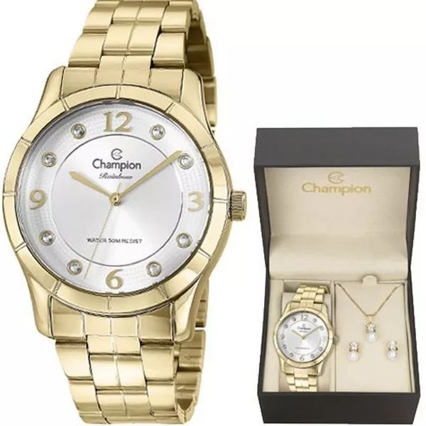 034ea25dac1 KIT RELOGIO FEMININO CHAMPION CN29909W COM SEMI JOIA - Atlantis Relógios