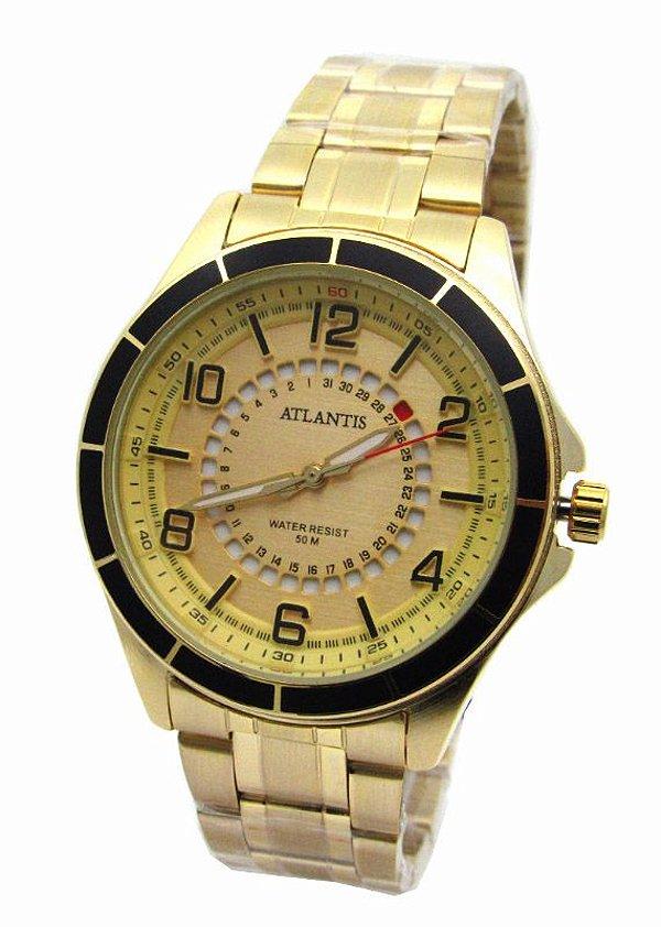 23b8be08d82 RELOGIO ATLANTIS UNISEX G3429 FUNDO DOURADO - Atlantis Relógios