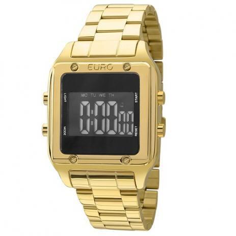 8801caec020 Relógio Euro Feminino Eug2510aa 4p Quadrado Dourado - Atlantis Relógios