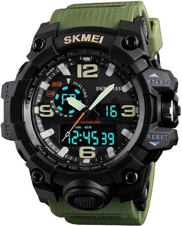 9fec271392a RELOGIO MASCULINO ESPORTIVO SKMEI 1155 VERDE MILITAR - Atlantis Relógios