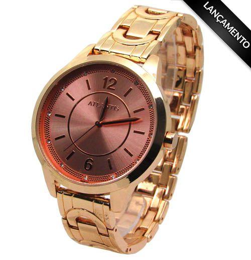 70fde729f1a RELOGIO FEMININO ATLANTIS B660G ROSE FUNDO ROSE - Atlantis Relógios