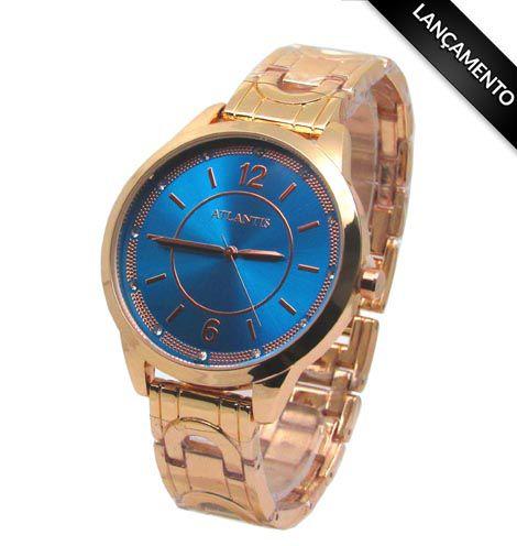 2ce2895771d RELOGIO FEMININO ATLANTIS B660G ROSE FUNDO AZUL - Atlantis Relógios