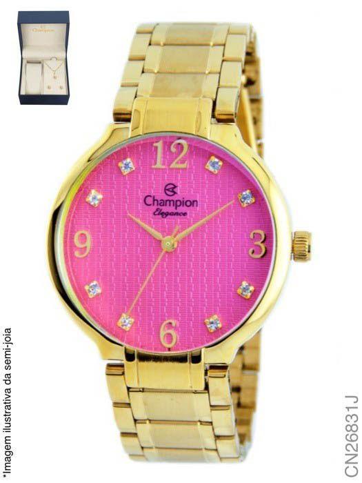 e698994bfaa Relógio Champion Feminino Dourado + Semi Joias CN26831J Rosa ...