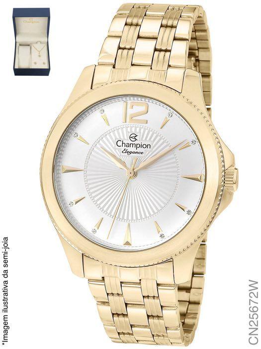 d55c76185 KIT RELOGIO FEMININO CHAMPION CN25672W COM SEMI JOIA - Atlantis Relógios