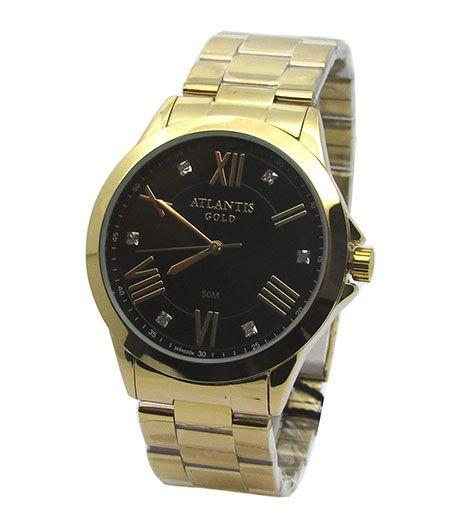 14df330e1b2 RELOGIO FEMININO ATLANTIS G3494 DOURADO FUNDO PRETO - Atlantis Relógios