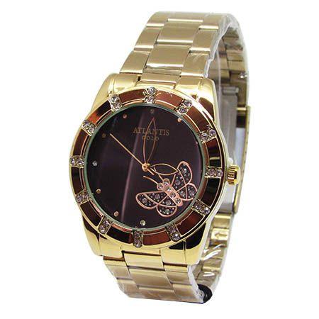 59584812f57 RELOGIO FEMININO ATLANTIS G3320 DOURADO FUNDO PRETO - Atlantis Relógios