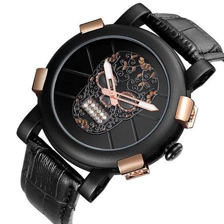 47b10b25dda RELOGIO CAVEIRA ESTILIZADA PULSEIRA COURO 9408EG - Atlantis Relógios