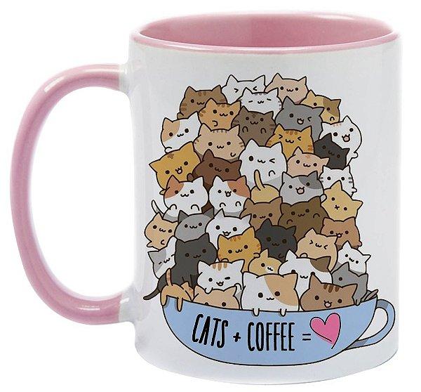 Caneca - Cats + Coffee = Love