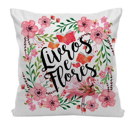Almofada - Bookstagram - Livros e Flores