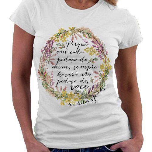 Camiseta Feminina - Frase livro diário de uma Paixão