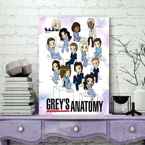 Quadro MDF - Bookstagram - Grey's Anatomy - Personagens