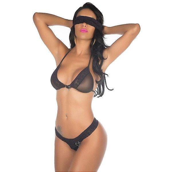 Conjunto Lingerie e Venda Sexy