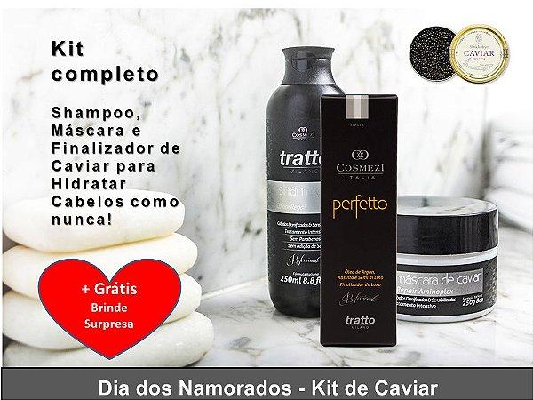 Kit Completo de Caviar Aminoplex Repair para Hidratação de Cabelos Alisados + GANHE BRINDE SURPRESA