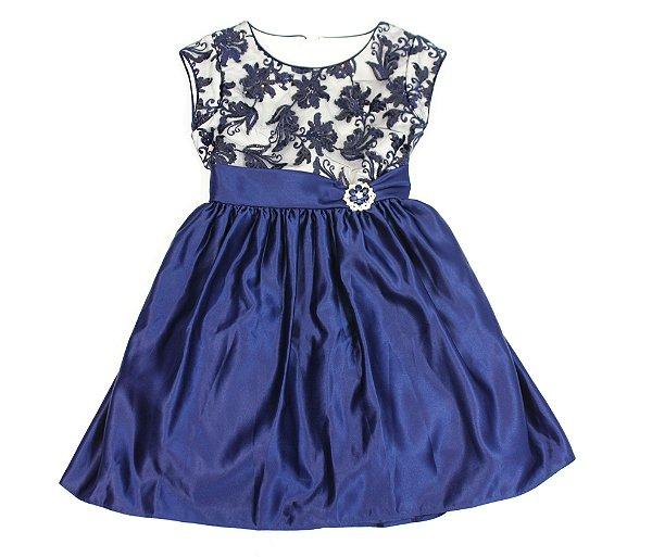 Vestido Festa Azul Marinho Mily 6-10 Anos