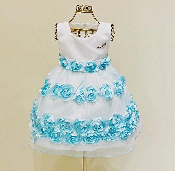 Vestido Festa Flores Azul Tiffany