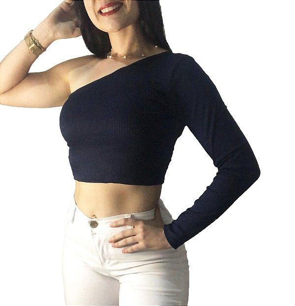 Top Cropped Mula Manca Azul Marinho