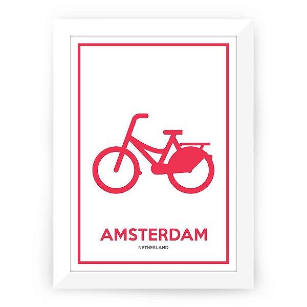 Pôster Holanda Amsterdam com moldura