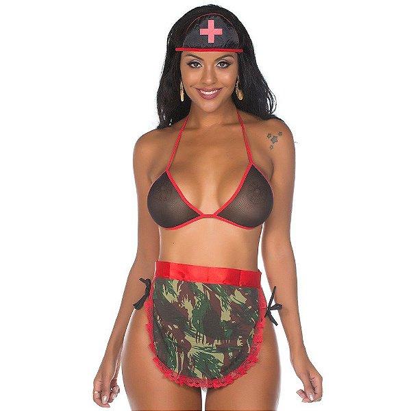 Kit Fantasia Médica Militar PIMENTA SEXY