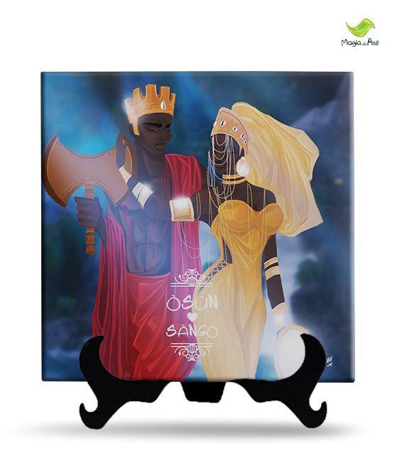 Azulejo decorativo - Oxum e Xangô apaixonados ( Com suporte)