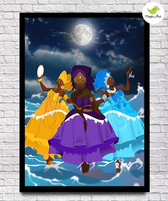 Pôster A3 - As deusas da lua (Iemanjá, Oxum e Nanã)