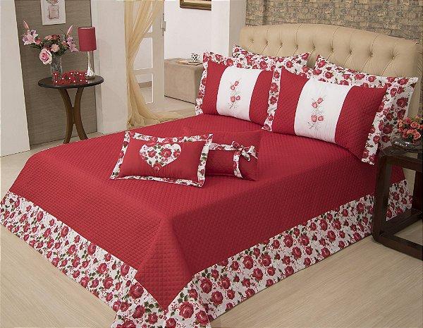 Kit de Cobre leito Heloisa Vermelho Casal Queen 05 peças