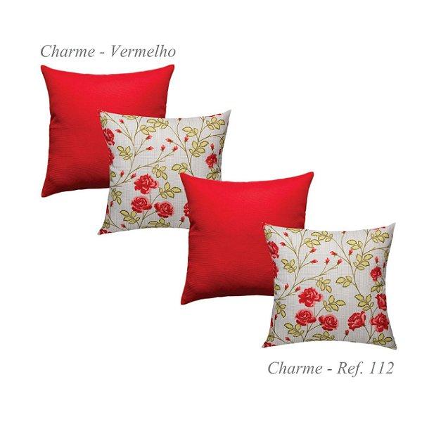 Kit Com 4 Capas Almofadas 2 Charme Estampada 112 E 2 Lisa Vermelha