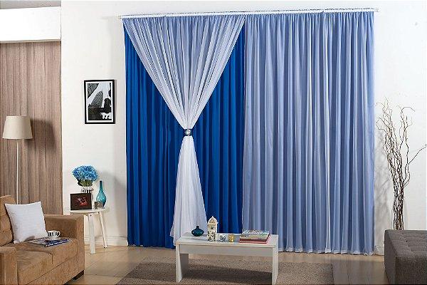 Cortina Barcelona 3,00m x 2,80m para Varão Simples Malha Gel 100% Poliéster Azul
