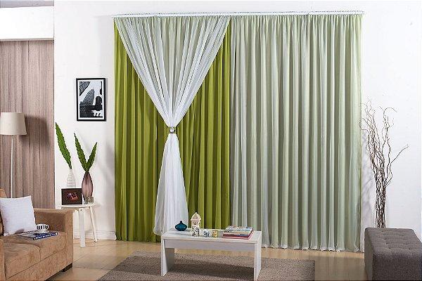 Cortina Barcelona 4,00m x 2,80m para Varão Simples Malha Gel 100% Poliéster Verde