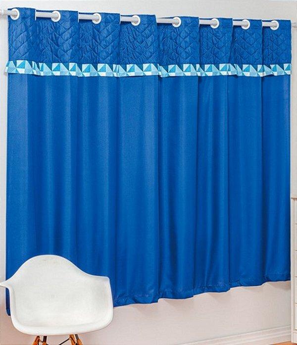 Cortina Nobre 2,00m x 1,80m para Varão Simples 100% Microfibra Azul
