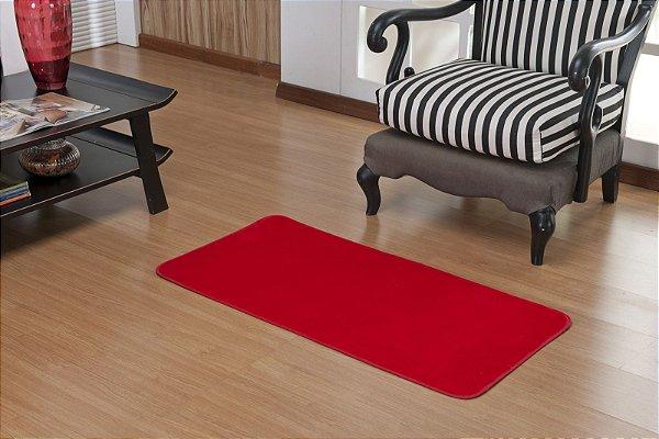 Tapete Liso Vermelho 1,00m x 0,50m Base Feltro Antiderrapante