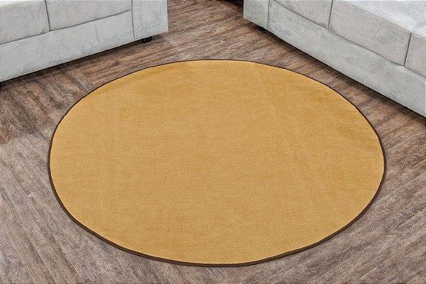 Tapete Liso Redondo Bege 1,50m Base Feltro Antiderrapante